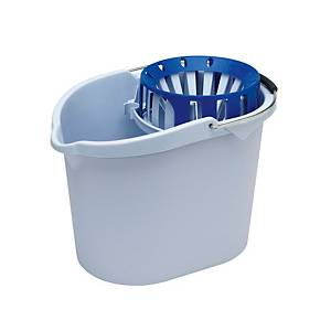 Balde de plástico com asa e espremedor Vileda - 10 L - branco e azul