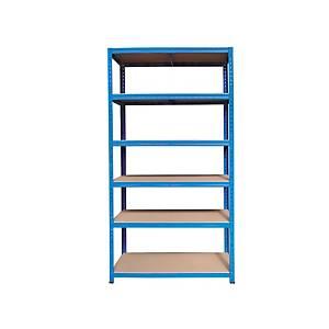 Kovový regál, 6 polic, 200 x 100 x 40 cm, modrý