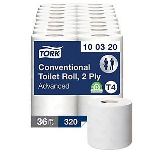 Tork 472150 Conventional Toilet Roll 2 Ply 320 Sheet White - Pack of 36 (4 X 9)