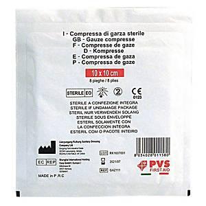 Compresse di garze sterili PVS in puro cotone idrofilo 10 x 10 cm
