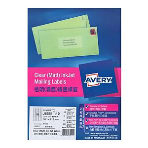 Avery 艾利 J8551 透明噴墨標籤 38.1 x 21.2毫米 每張65個標籤
