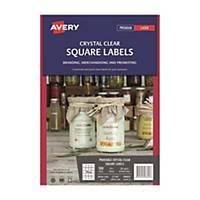 Avery 艾利 L7126/ 980021 透明方形標籤 45 x 45毫米 每張20個標籤