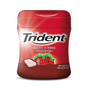 Caixa 61 pastilhas elásticas Trident - drageias - sem açúcar - morango