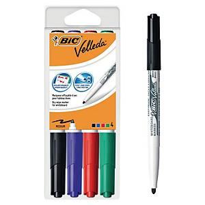 Bic® Velleda 1741 whiteboard marker, ronde punt, assorti kleuren, per 4 markers