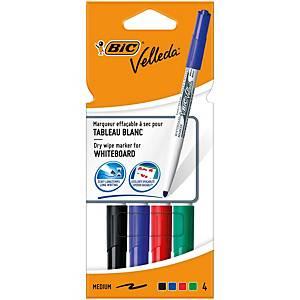Pack 4 marcadores pizarra blanca Bic Velleda 1741 - punta cónica 1,4 mm- surtido