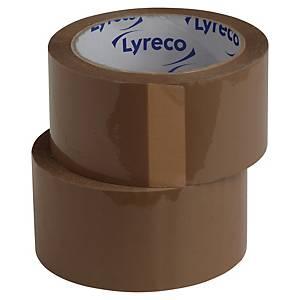 Pakketape Lyreco, PP, 50 mm x 100 m, brun, pakke a 6 ruller