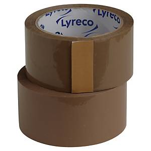 Pakketape Lyreco, PP, 50 mm x 66 m, brun, pakke a 6 ruller