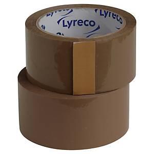 Pakketape Lyreco, PP, 50 mm x 66 m, brun, pakke à 6 ruller
