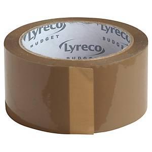 Pakketape Lyreco Budget, 50 mm x 66 m, brun, pakke a 6 ruller
