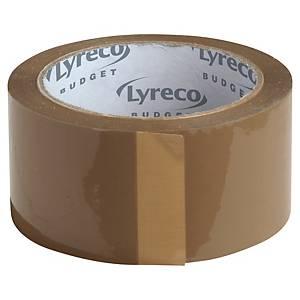Packtejp Lyreco Budget, PP, 50 mm x 66 m, brun, förp. med 6 rullar