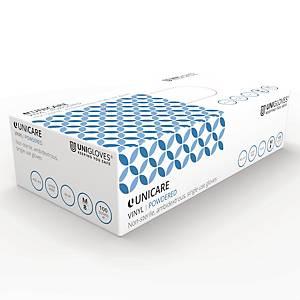 Unicare 2022 Vinyl Powdered Disposable Gloves Blue Medium (Box of 100)