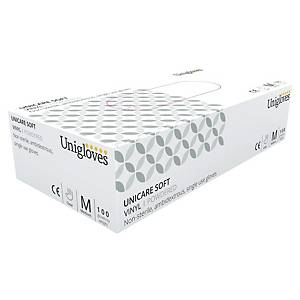 Unicare 1823 Vinyl Powdered Disposable Gloves Clear Medium (Box of 100)