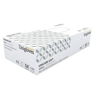 Unicare 1824 Vinyl Powdered Disposable Gloves Clear Large (Box of 100)