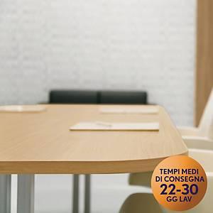 Tavolo riunione MecoOffice rettangolare L180 x P100 x H74 cm rovere/argento