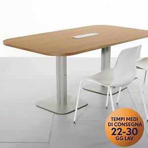Tavolo riunione MecoOffice rettangolare L180 x P100 x H74 cm Noce/argento