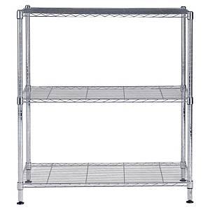 Alba chrome steel shelving 3 shelves medium