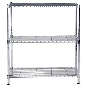 Alba chrome steel shelving 3 shelves medium