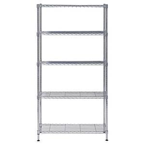 Alba chrome steel shelving 5 shelves medium