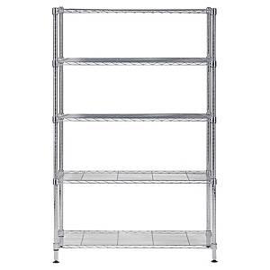 Alba Chrome Steel Shelving 5 Shelves Large