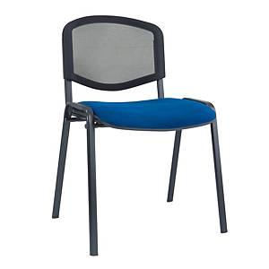 Poltroncina visitatore Seditaly schienale in rete e sedile imbottito blu