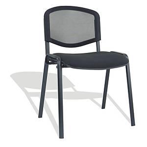 Poltroncina visitatore Seditaly schienale in rete e sedile imbottito nero