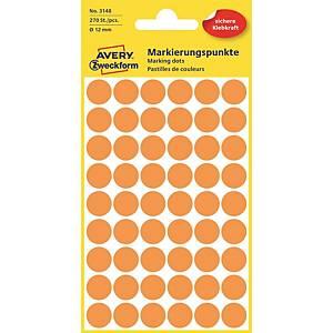 Avery színes címke, 3148, Ø 12 mm, neónovo oranžové, 270 darab/ bal
