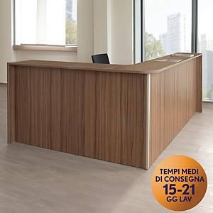 Bancone reception TDM con angolare frontale  L 213 x P 173 x H 108 cm noce