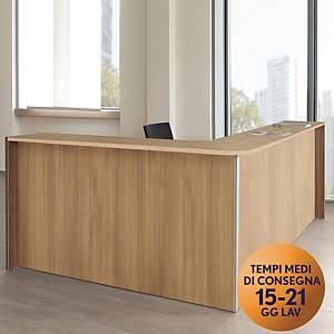 BANCONE RECEPTION ANGOLARE FRONTALE IN LEGNO ROVERE TDM L 253 x P 173 x H 108