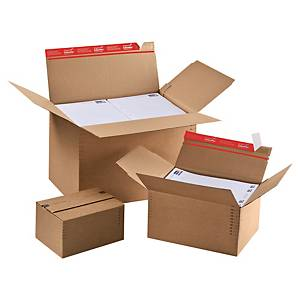 Shipping box variable height - autom. bottom 304x216x130-220 brown