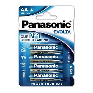 Pile alcaline Panasonic Evolta LR6/AA, les 4 piles
