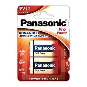 Panasonic Power Pro LR61/9V alkaline batterij, per 2 batterijen
