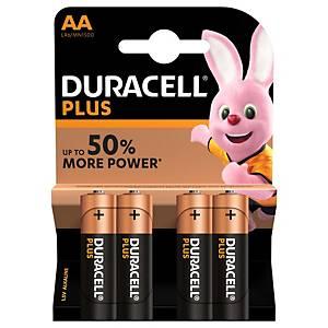 Duracell Plus Power LR06/AA alkaline batterij, per 4 batterijen