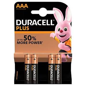 Duracell Plus Power LR03/AAA alkaline batterij, per 4 batterijen