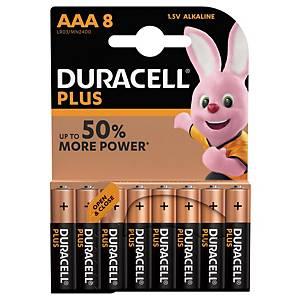 Duracell Plus Power LR03/AAA alkaline batterij, per 8 batterijen