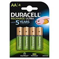 Pile rechargeable Duracell Recharge Ultra AA, les 4 piles