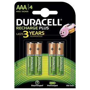 Pile rechargeable Duracell Recharge Plus AAA, les 4 piles