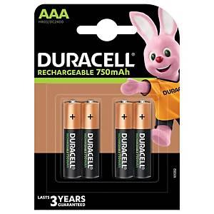 Duracell Recharge Plus AAA herlaadbare batterij, per 4 batterijen