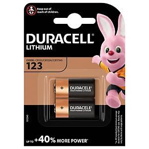 Duracell Specialty Ultra Lithium CR123 fotobatterij, per 2 batterijen