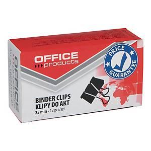 Klipsy do papieru 25 mm OFFICE PRODUCTS, czarne, 12 sztuk
