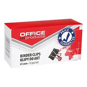 Klipsy do papieru 41 mm OFFICE PRODUCTS, czarne, 12 sztuk