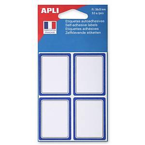Etiquettes d école 38 x 50 mm blanc avec une bordure bleue - le paquet de 32