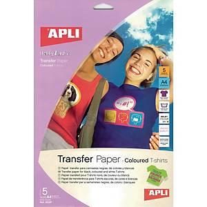 Apli papier transfert t-shirt A4 - le paquet de 5