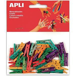Apli pinces à linge mini assorties 25 x 3 mm- le paquet de 45