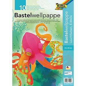 Carton ondulé 25 x 35 cm couleurs assorties fluo - le paquet de 10