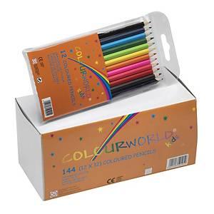 Farveblyanter Colourworld, ass. farver, pakke a 144 stk.