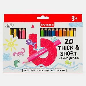 Bruynzeel® Kortjakjes kleurpotloden en 1 slijper, pak van 20 potloden