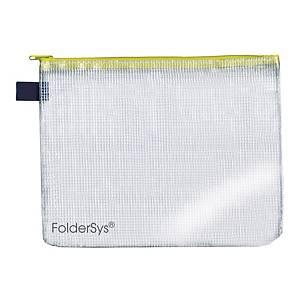 Foldersys transparante tas met zipsluiting, A5, rits geel, per stuk