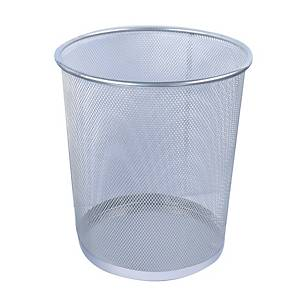 Mesh Metal Round Waste Bin Silver 235 X 270mm