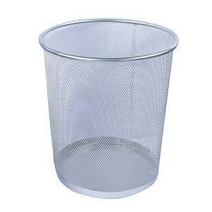 Mesh Metal Round Waste Bin Silver 268 X 280mm