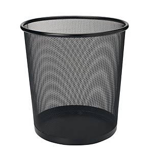 Mesh Metal Round Waste Bin Black 268 X 280mm